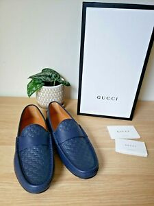 *NWB* GUCCI MEN'S BLUE MICROGUCCISSIMA LEATHER MOCCASINS DRIVER'S SHOES 8.5