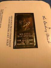 Martin Van Buren 24k Gp Bronze Ingot Danbury Mint Presidential