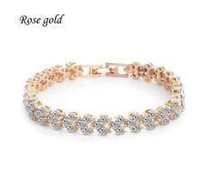 GOLD PLATED ZIRCON CRYSTAL ROMAN TENNIS BRACELET