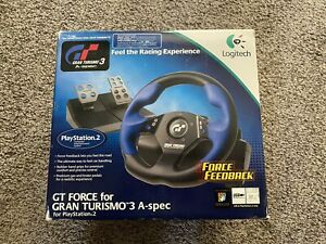 Logitech GT Force Feedback Gran Turismo Racing Wheel for PlayStation 2 PS2 & PC