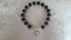 Lovely Deep Amethyst/Silver Bead Stretch Bracelet, Happy Charm, New! Gift!