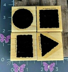Stampin Up! Rubber Stamp 2000 Set 4 Shapes Square Triangle Rectangle Circle #C7