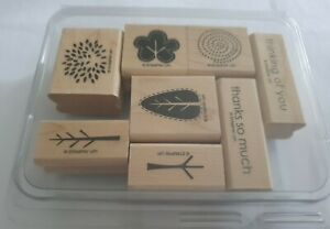 Stampin up! Stempel Set Two-Step Trendy Trees Bäume Holz 8 Stück unbenutzt