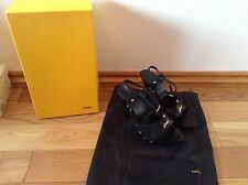 Pre-Loved 100% auth Fendi stiletto black heels With Logo. 36
