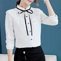 Shirt Blouse Summer Ladies T-Shirt Women Chiffon Fashion Loose Long Sleeve Top
