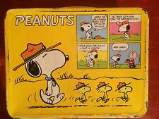 Vtg Peanuts Charlie Brown Baseball Snoopy Lucy Yellow Metal Lunch Box Thermos