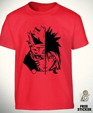 Naruto vs Sasuke Red t shirt Uchiha Sharingan Tee Cool Anime Gift Top Boys Kids