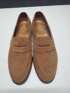 "Crockett & Jones ""EATON"" Men's Sz 10.5 EX Brown Suede Leather Penny Loafer Shoes"