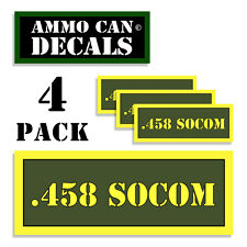 ".458 SOCOM Ammo Can 4x Labels Ammunition Case 3""x1.15"" sticker decals 4 pack AG"