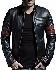 Mens Leather Jacket Black Slim fit Genuine Lambskin Biker Motorcycle jacket 901