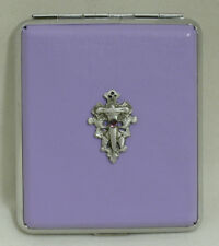 King Size Purple Leather 18pcs Cigarette Case/ID Holder-Laced Cross Pewter