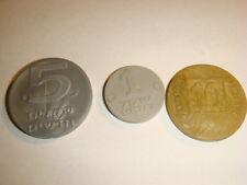 Israel  3 PLASTIC TOKENS 1 + 5 New SHEQALIM & 10 Agorot , coin token Menorah