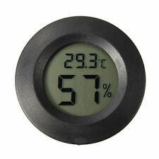 LCD Digital Cigar Humidor Hygrometer Thermometer Temperature Round Black Gauge