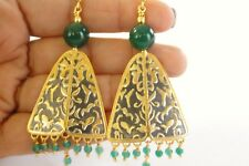 Green Onyx Gold Vermeil Chandelier 925 Sterling Silver Dangle Earrings