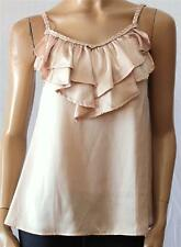 VALLEYGIRL Creamy Beige Silky Frilly Cami Top Size 8 BNWT [sq03]