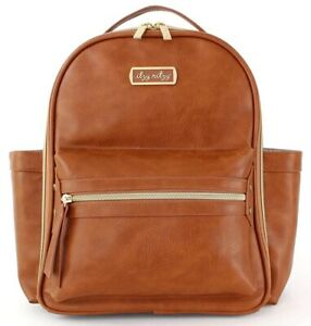 Itzy Ritzy Mini Baby Diaper Bag Backpack Changing Pad Cognac NEW