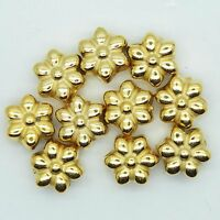 12mm Flower Floral Beads Metalized Large Hole Bright Gold Finish pk/10