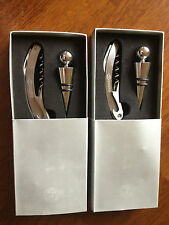 LOT of 2 sets ~ Corkscrew wine opener & bottle stopper set new in box FREE SHIP