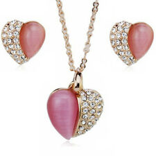 18K ROSE GOLD PLATED GENUINE CUBIC ZIRCONIA PINK HEART NECKLACE & EARRING SET