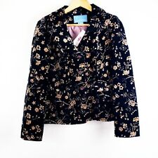 NINE WEST Womens Blazer Vintage Floral Velour Pockets Lined Double Breasted Sz M