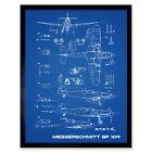 Messerschmitt Bf 109 Fighter Plane 2 Blueprint Plan Wall Art Print Framed 12x16