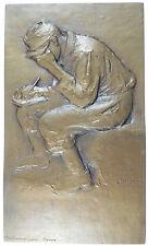 LE VETEMENT DU PRISONNIER DE GUERRE by Blondat after Forain bronze 83mm x 139mm