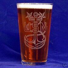 US Navy CPO16oz etched Beer Glass set of 2 (E7, E8, E9)