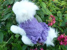 XS handmade knit White/Yellow/Purple dog sweater dress