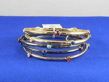 Betsey Johnson Two Tone CONFETTI Multi Color Bezel Crystal Bangle Bracelet Set