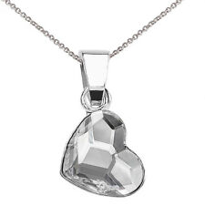 925 Sterling Silver Necklace Love Heart Crystals from Swarovski® Curb Chain 18""