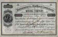 Massachusetts New Mexico Gold Mining 1881 Portland Maine Goldmine Gründeraktie