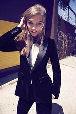 Women Stylish Party Wear Slim Fit Black Velvet Tuxedo Sports Blazers Jackets UK