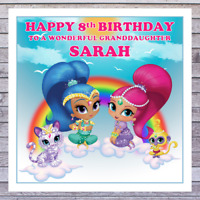 KIDS SHIMMER & SHINE BIRTHDAY CARDS - personalised with AGE RELATIONSHIP NAME