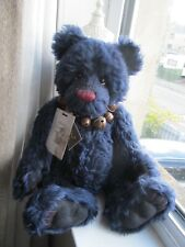 "LARGE HANDSOME MOHAIR CHARLIE BEAR 17"" ATLANTIC TAGS AND NECKLACE TREASURED"