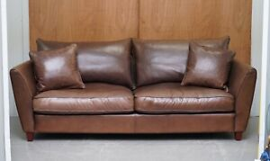 STUNNING HARRODS COLLINS & HAYES FEATHER FILLED SOFT LEATHER SOFA RRP £4,500