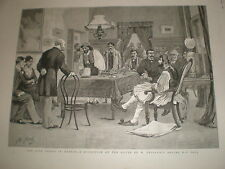 A Reception at the house of Theodoros Diligiannis in Greece 1886 old print