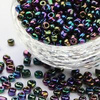 LOT DE 500 PERLES DE ROCAILLE VIOLET BLEU VERT IRISE Ø 4 mm 6/0 CREATION BIJOUX