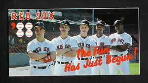 Boston Red Sox--Greenwell--Burks--Benzinger--1988 Pocket Schedule--BayBanks