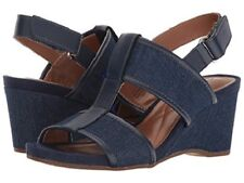 "Easy Spirit Lalani wedge sandals dark blue denim 3"" heels sz 6 WIDE New"