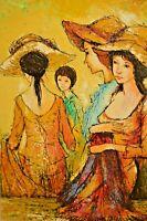 FRANCOIS Vintage Ladies Hats Fashion Maiden Girl Portrait Landscape Oil Painting