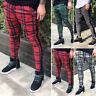 Mens Plaid Check Skinny Long Pencil Pants Slim Jogger Business Trousers Bottoms