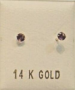 New 14k Gold Birthstone (February) Baby Ball Stud Earrings