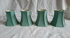 4 x Vintage Small Green Fabric Lamp Shades  Clip On Quality Pleated Retro Light