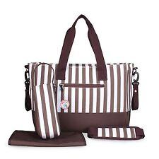 Babyhugs cambio pannolini bambino 5pcs Diaper Bag Set-Brown & White Stripes