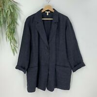 Eileen Fisher Womens Linen Duster Jacket Size Medium M Blue Pocket Front N8