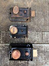 Lot of 3 Deadlock Vintage Door Lock Latch Twist Knob : Segle ~ Yale ~ Unmarked
