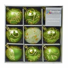 Christmas Tree Decoration 9 Pack 60mm Shatterproof Baubles - Apple Green