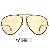 """Vintage RAY-BAN / BAUSCH & LOMB """"LEATHERS"""" sunglasses - GOLD - made USA 80's"""