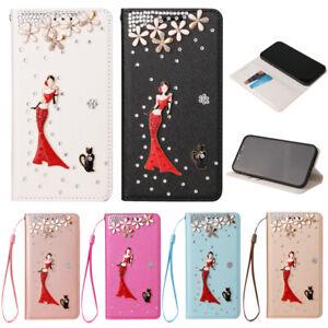 Rotes Kleid Wallet Handy Schutzhüllen Für Samsung S7 S8 S9 S10 S20 FE S21 Plus