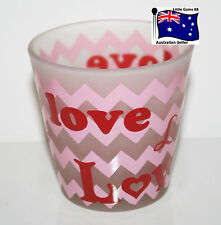 YANKEE CANDLE VOTIVE or TEALIGHT HOLDER * LOVE BLOOMS HEARTS * GLASS ~